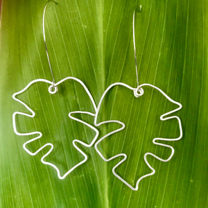 Large Monstera Leaf Earrings