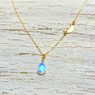 Moonstone Sequin Crescent Necklace