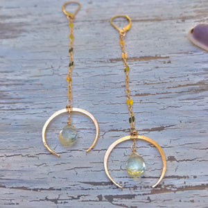 Hammered Crescent & Green Amethyst Teardrop Duster Earrings