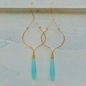 Aqua Chalcedony Chandelier Earrings