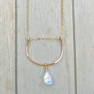 U Bar Moonstone Necklace