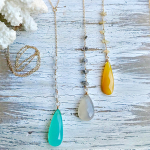 Long Briolette Teardrop Necklace