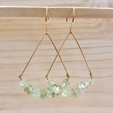Gold Raw Aquamarine Boat Hoop Earrings