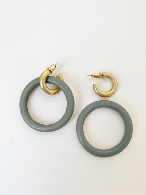 2416-GRY Boucles d'Oreille Caracol