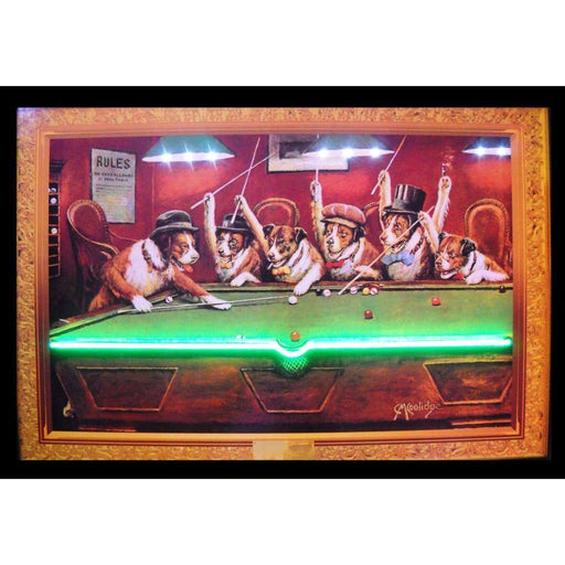 DOGS PLAYING POOL NEON/LED PICTURE