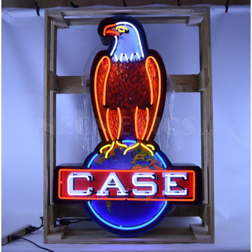 CASE EAGLE NEON SIGN IN SHAPED STEEL CAN