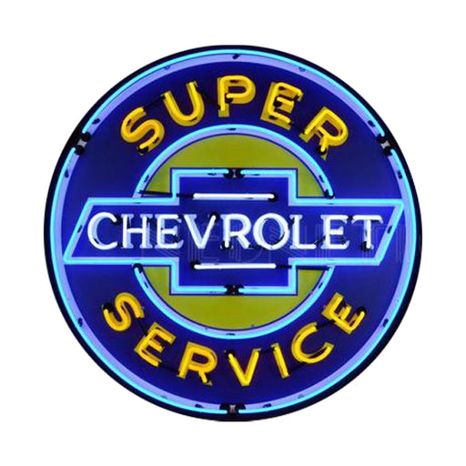 NEONETICS SUPER CHEVROLET SERVICE 36 INCH NEON SIGN IN METAL CAN