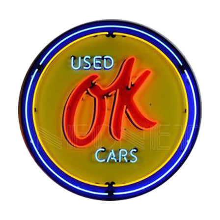 NEONETICS GM OK USED CARS 36 INCH NEON SIGN IN METAL CAN