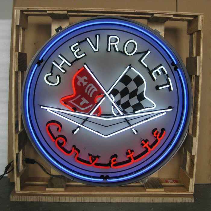 CORVETTE FLAGS 36 INCH NEON SIGN IN METAL CAN