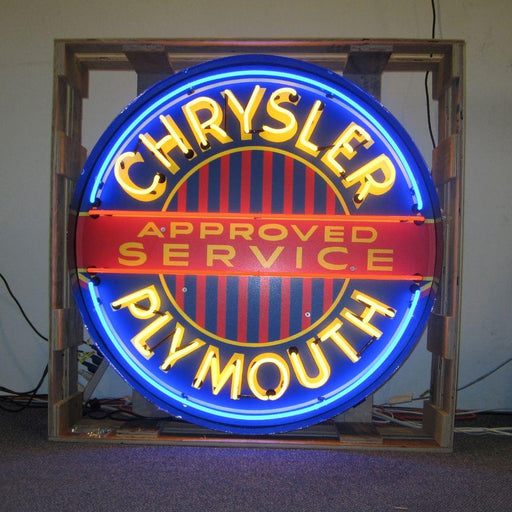 CHRYSLER PLYMOUTH 36 INCH NEON SIGN IN METAL CAN