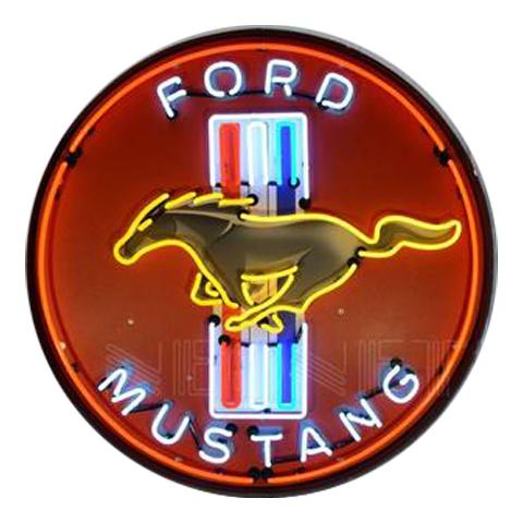 NEONETICS FORD MUSTANG RED 36 INCH NEON SIGN IN METAL CAN