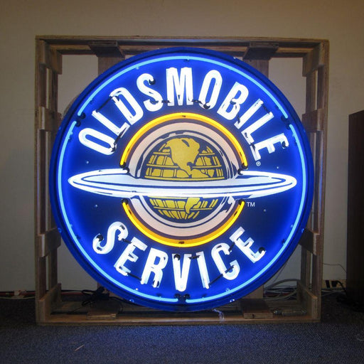 OLDSMOBILE SERVICE 36 INCH NEON SIGN IN METAL CAN