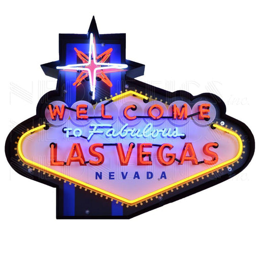 WELCOME TO FABULOUS LAS VEGAS NEON SIGN IN SHAPED STEEL CAN