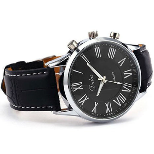 New Luxury Mens Faux Leather Analog Quartz Wrist Watch Black