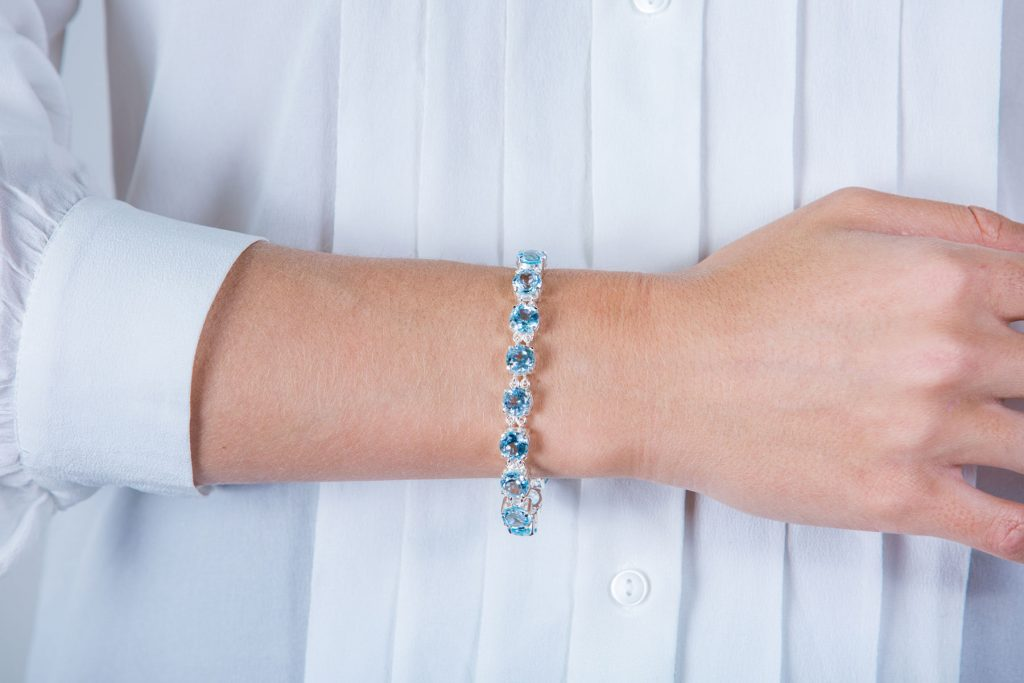 The classic blue topaz tennis bracelet.