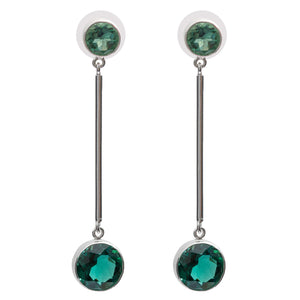 Minimalist green quartz earrings