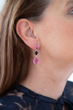 Stunning Pink Topaz and Sapphire Earrings