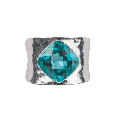 Beaten blue topaz ring