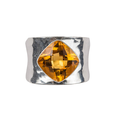 Beaten citrine ring