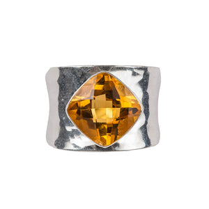 Contemporary beaten citrine ring
