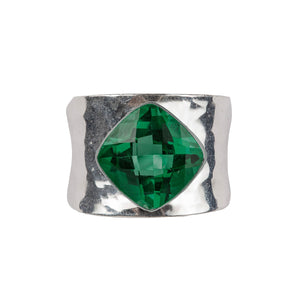 Contemporary beaten green quartz ring