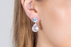 Delicate Blue Topaz and Pink Quartz Earrings