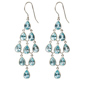 Chandelier Blue Topaz Earrings