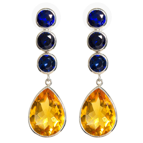 Deco Sapphire and citrine earring