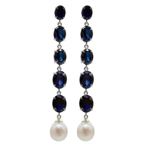 Sophisticated Long Sapphire Earrings