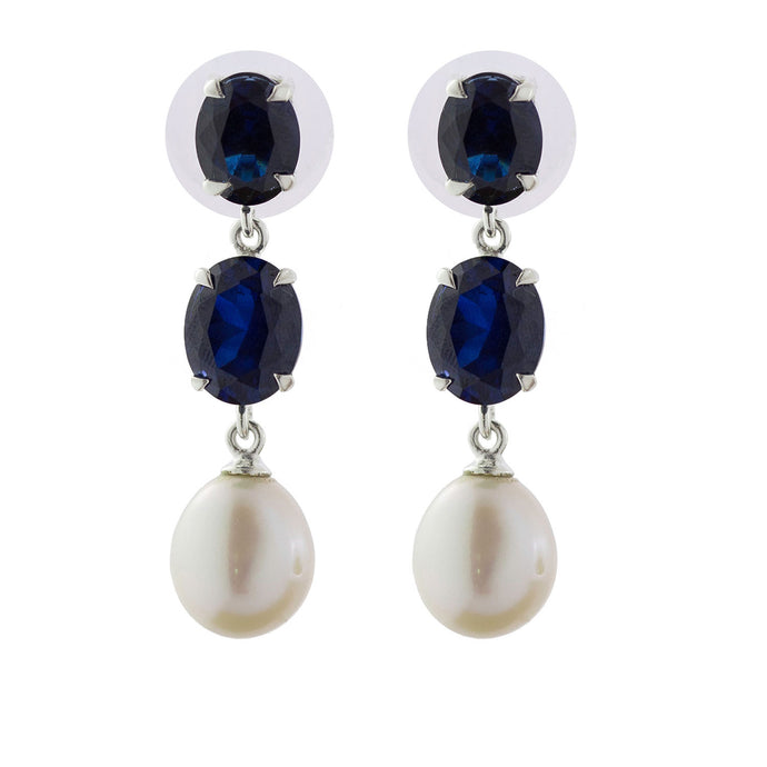 Elegant sapphire oval and pearl earrings