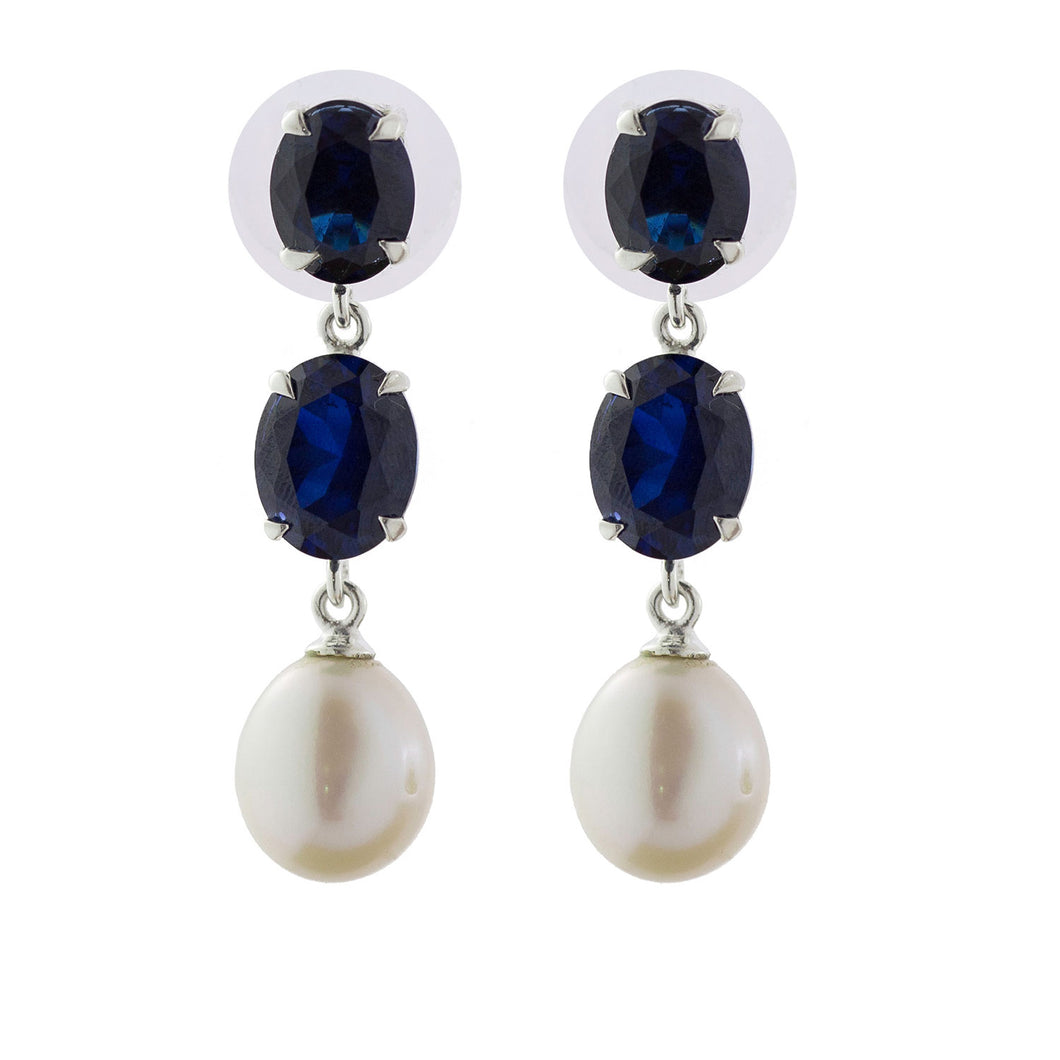 Elegant sapphire oval and pearl earring