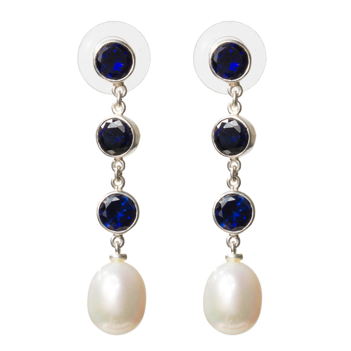 Elegant sapphire and pearl drop