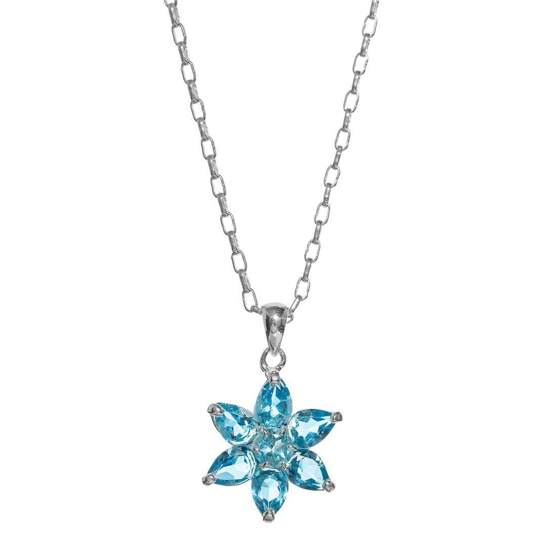 Ethereal blue topaz flower necklace