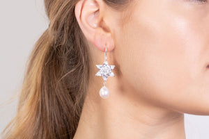 Ethereal zirconia flower and pearl earrings