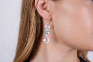 Graceful Rose Quartz and Blue Topaz Earrings