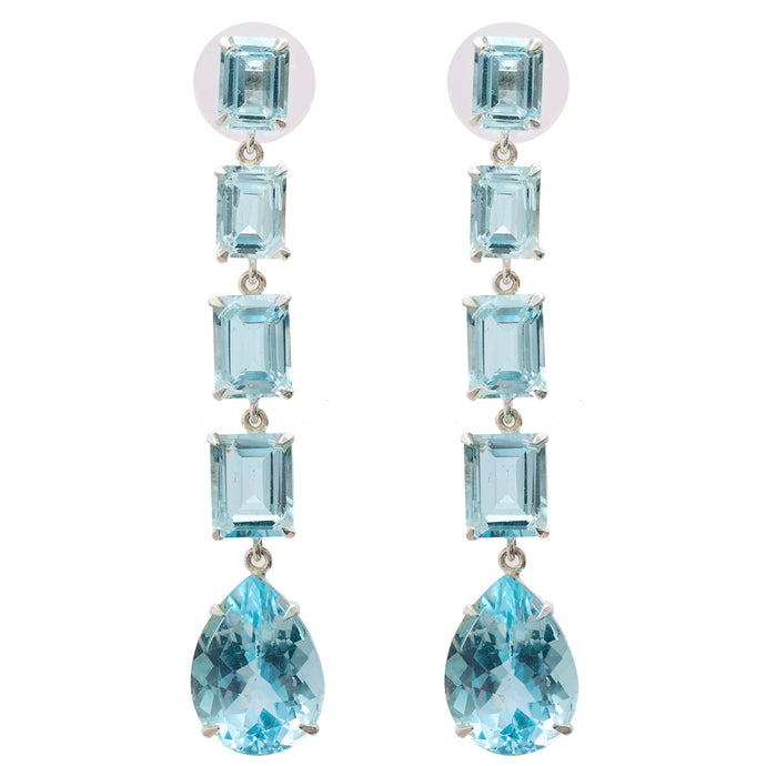 Long Octo Blue Topaz Earrings