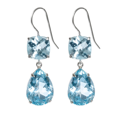 Luxurious blue topaz earrings