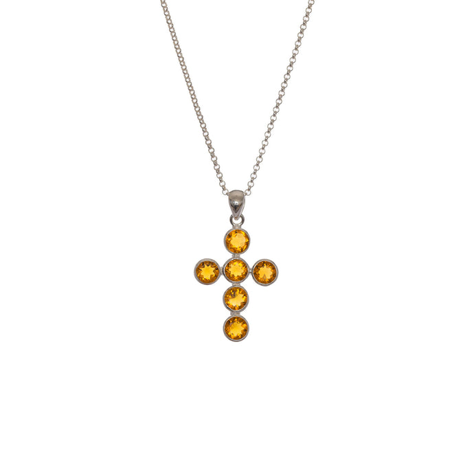 Medieval Citrine cross necklace