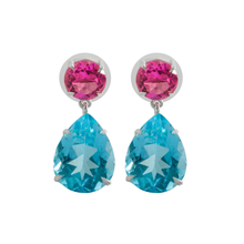 Delicate Pink Topaz with Blue Topaz Earrings