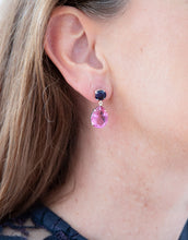 Delicate sapphire and pink topaz earrings