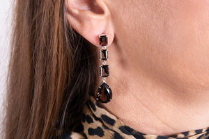 Opulent smoky quartz earring