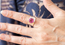Contemporary Beaten pink topaz ring