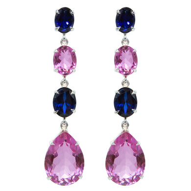 Elegant Pink Topaz and Sapphire Earrings