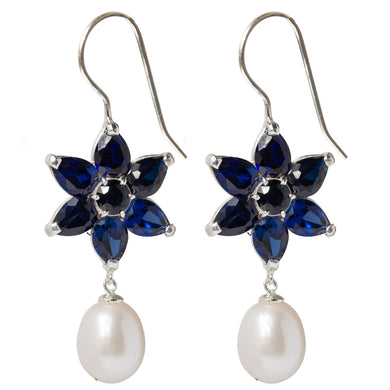 Ethereal sapphire flower and pearl earrings