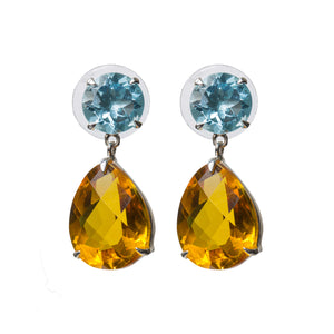 Delicate blue topaz and citrine