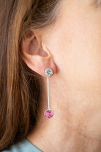 Minimalist blue and pink topaz earrings