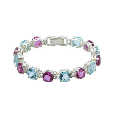 Deluxe Pink and Blue Topaz Bracelet