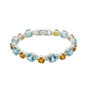 Dazzling Blue Topaz and Citrine Bracelet