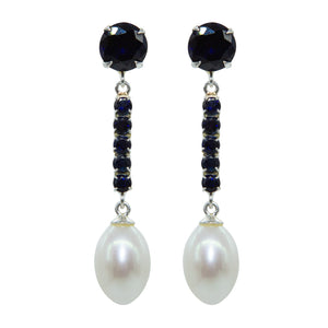 Elegant Sapphire and pearl earrings