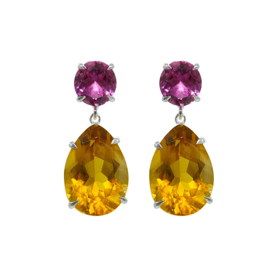 Delicate Pink Topaz and Citrine Earrings